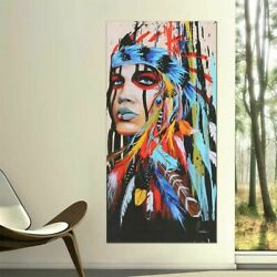 Art Decor Abstract Indian Woman Canvas Oil Painting Print Picture Home Wall Hang $10.99
