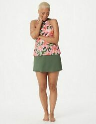 Denim & Co Beach Pink Olive Floral High Neck Tankini & Skirt Swimsuit New $34.95