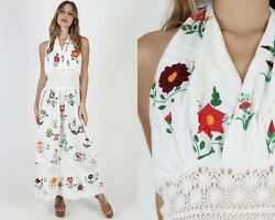 Vintage 70s Mexican Wedding Dress Floral Embroidered Crochet Lace Halter Maxi $140.60