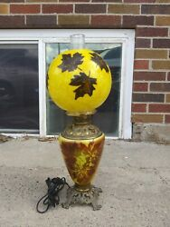 Vintage Gone With The Wind Hurricane Lamp Converted Oil Lamp