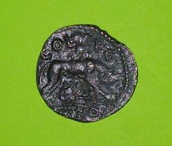 Alexandria Troas 200 AD ancient ROMAN COIN she wolf feed twins Tyche Rome VG old
