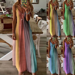 Women's Summer Gradient Long Rainbow Maxi Dress Ladies Boho Holiday Beach Party