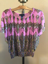 pink sheer fitted bottom INC INTERNATIONAL CONCEPTS blouse shirt small