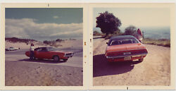 YOUNG WOMAN w 1971 DODGE CHALLENGER MUSCLE CAR  BEACH vtg 70s COLOR photos $24.99
