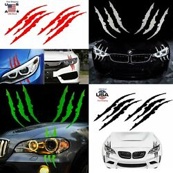 2 Pcs Monster Claw Scratch Decal Reflective Sticker for Car Headlight Decor US $9.99