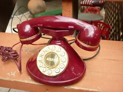 Working Beautiful Red Art Deco Desk Style Telephone $6.49