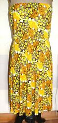 H&M Bandeau Summer Beach Holiday Print Dress Stretch Jersey Size 10 Strapless $6.53