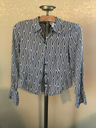 SILK black white STYLE & CO PETITE  button down collared blouse shirt size 8P 8 $9.99