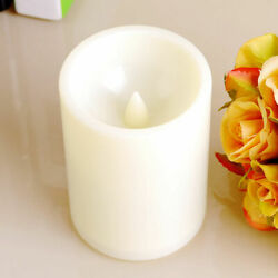 4.5quot; Flickering Flameless Resin Pillar LED Candle Lights Party Decor w Timer $4.95