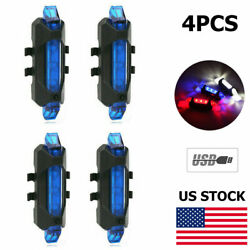 4X Bike Rechargeable LED Taillight USB Rear Tail Safety Warning Blue Flash Light $11.32