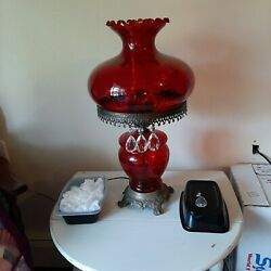 Red fenton red lamp with crystal#x27;s $200.00