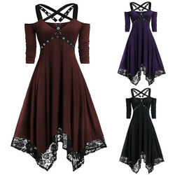 Women Gothic Dress Steampunk Lace Plus Size Irregular Swing Shoulderless Strappy