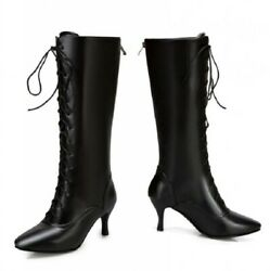 Womens Trendy Lace Ups Pointy Toe Mid Calf Boots Kitten Mid Heel Outdoor Shoes D $42.22