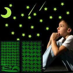 Moon Stars Glow in The Dark Sticker Night Luminous Kids Room Wall Decal Stickers $1.51