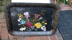 Antique Tole Painted Metal Serving Tray $24.00