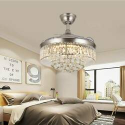 Luxury Crystal Chandelier 36quot; 42quot; Invisible Ceiling Fan Light 3 Color LED Remote $142.49