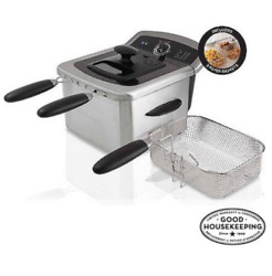 Electric Deep Fryer Cooker Home Countertop Dual Basket Fries 4 L Stainless Steel $50.27