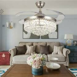 Crystal LED Chandelier Invisible Ceiling Fan Light Ceiling Lamp w Remote $129.99