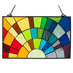 Stained Glass Rainbow Design Window Panel Handcrafted Tiffany Style 20quot; x 12quot; $112.81