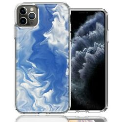 For Apple iPhone 11 Pro Sky Blue Swirl Design Double Layer Phone Case Cover $12.59