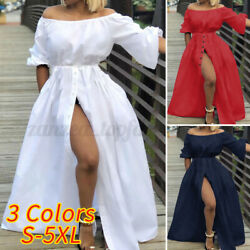 Women Summer Holiday Bardot Maxi Dress Evening Party Beach High Slit Sun Dresses $17.10