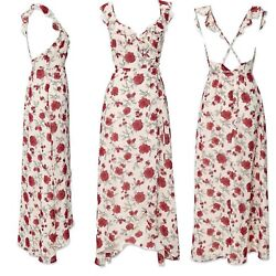 Forever 21 Floral Maxi Dress Red Roses Small S NEW $32 $24.95