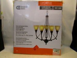 Commercial Electric 5 Bronze Chandelier Tea Stained Shade Fixture R17 $49.99