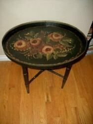 ANTIQUE TOLE TRAY TABLE FOLDING FAUX BAMBOO LEGS BLACK ROSES RETICULATED EDGE Lg $341.99