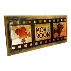Movie Room Metal Sign with Solid Wood Frame Wall Decor for Home Theater 7.5 x 17 $39.95