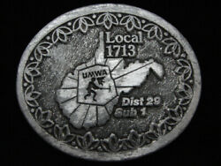 PG11125 VINTAGE 1970s **UMWA LOCAL 1713 DIST 29 SUB 1** MINING PEWTER BUCKLE $13.00