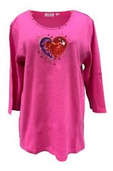 QUACKER FACTORY Bling in the Holidays Heart 3 4 Sleeve T Shirt Pink B0000RM $15.99