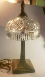 Waterford Crystal Umbrella Table Lamp Brass Base $295.00