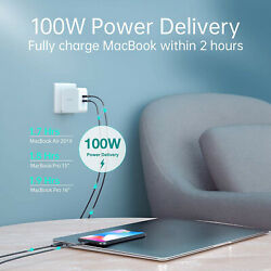 USB C 100W 2 Port Type C Wall Charger PD 3.0 GaN Tech Foldable Adapter CHOETECH $51.47