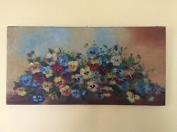 Antique oil painting of pansies $175.00