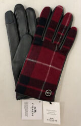 Genuine COACH Tech Gloves for Women Leather Signature Plaid Black Red MSRP$148 $49.95