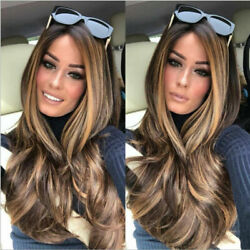 23quot; Golden Brown to Gold Ombre Long Wavy Curly Blonde Wig Women#x27;s Synthetic Hair $15.99