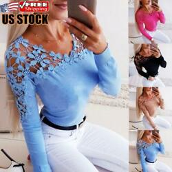 Womens Lace Flower Hollow Long Sleeve T Shirt Tops Ladies Casual Slim Fit Blouse $19.05