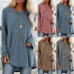 Womens Autumn Long Sleeve Tunic T Shirt Causal Plus Size Solid Long Tops Blouse $13.67