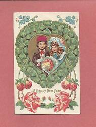 Adorable CHILDREN On Beautiful Embossed Vintage Austrian Made NEW YEAR Postcard $2.99