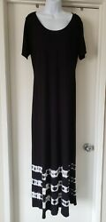 INC Maxi Dress Size 1X Black Short Sleeve Tie Dye Stretch Sparkle Accents Hem $14.99