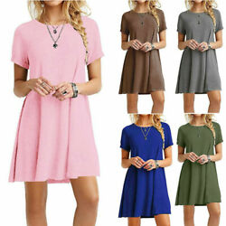 Womens Mini Short Sleeve T Shirt Dress Plus Size Beach Sundress A Line Dress US $11.75
