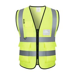 Safety Vest with High Visibility Reflective Stripes Yellow amp; Orange W Pockets $8.50
