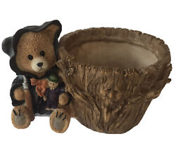 """Halloween Bear Scarecrow Resin Planter Holds 4"""" Pot Or Candies 7 X 6"""" Black Cape $8.50"""