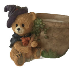 """Halloween Bear Witch Resin Planter Holds 4"""" Pot Or Candies 7 X 6"""" Black Cape $8.50"""