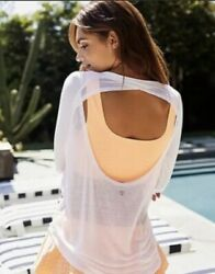 New Free People Movement Bounce Back Long Sleeve White Top Large B 537 $39.99