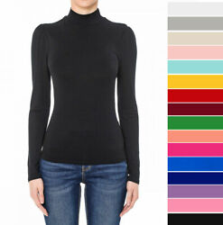 Women#x27;s Turtleneck Long Sleeve Shirt Basic Solid Fitted Top Soft Stretch Knit $14.99