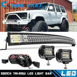 5D 50quot; Curved LED Light Bar Cube Pods Wiring Kit for 1984 2001 Jeep Cherokee XJ $98.99