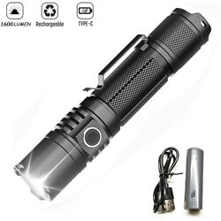 1600 Lumens Type C Quick Charge Rechargeable Led Tactical Flashlight 21700 Torch $34.99