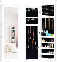 Wall Over the Door Mounted Jewelry Armoire Cabinet with Full Length Mirror Large $122.67