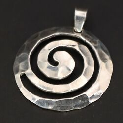 Sterling Silver Modern Hammered Spiral Swirl Cutout Disc Pendant 2g $35.00